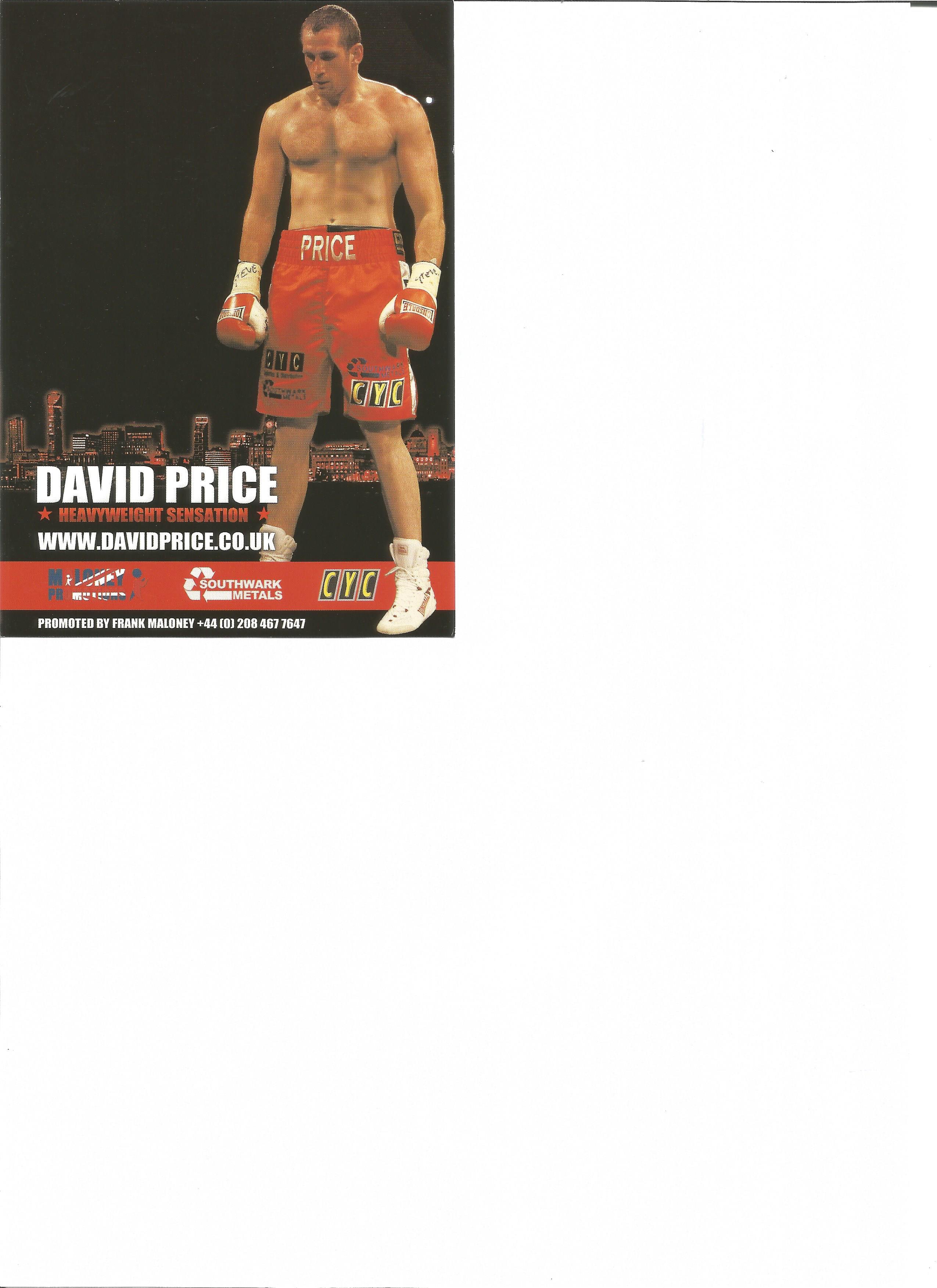 Lot 792 - Boxing David Price signed 6 x 4 inch promo card. David Price born 6 July 1983 is a British