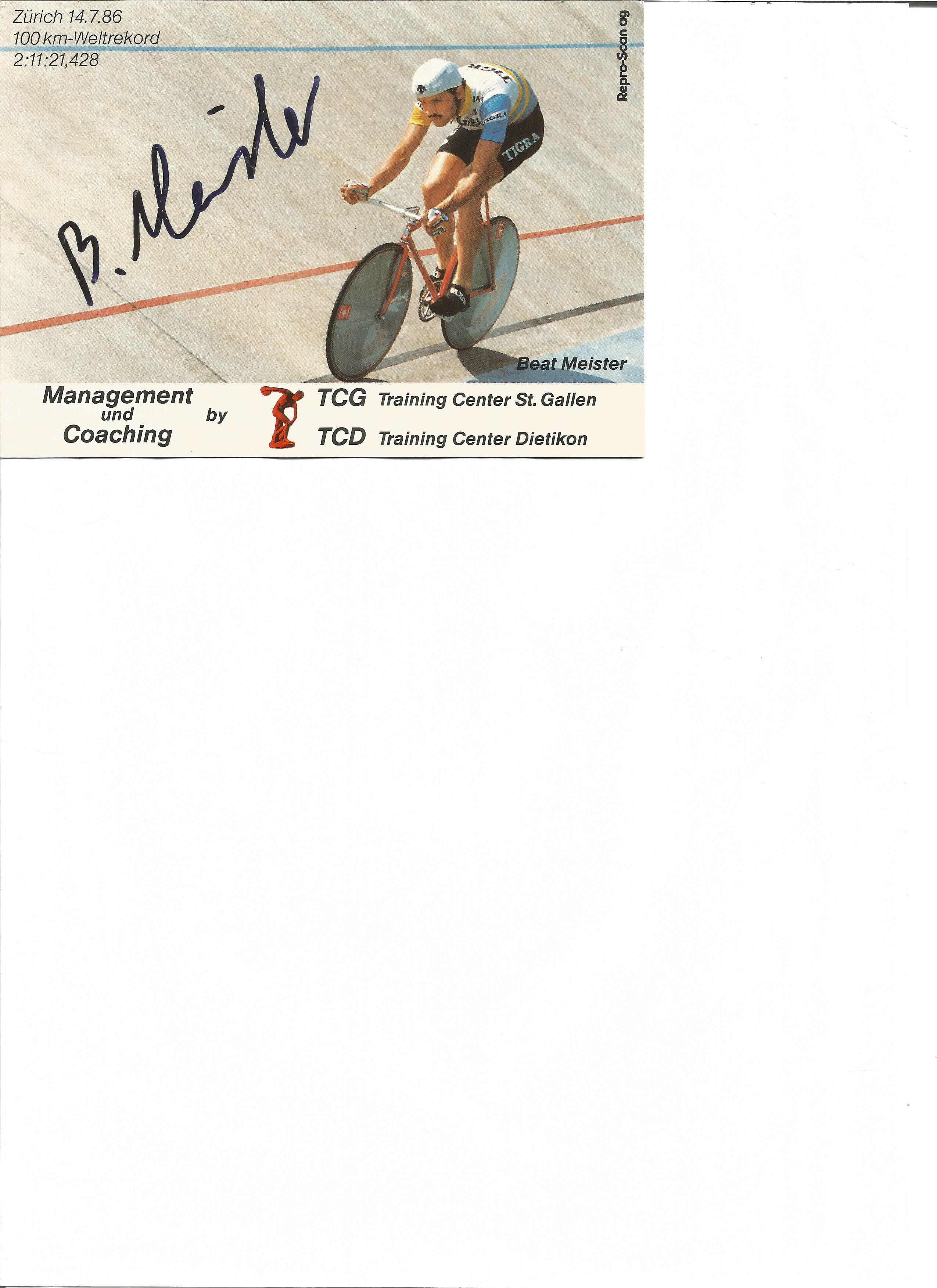 Lot 154 - Cycling Beat Meister signed 6 x 4 inch colour promo card. Beat Meister born 22 September 1965 is a