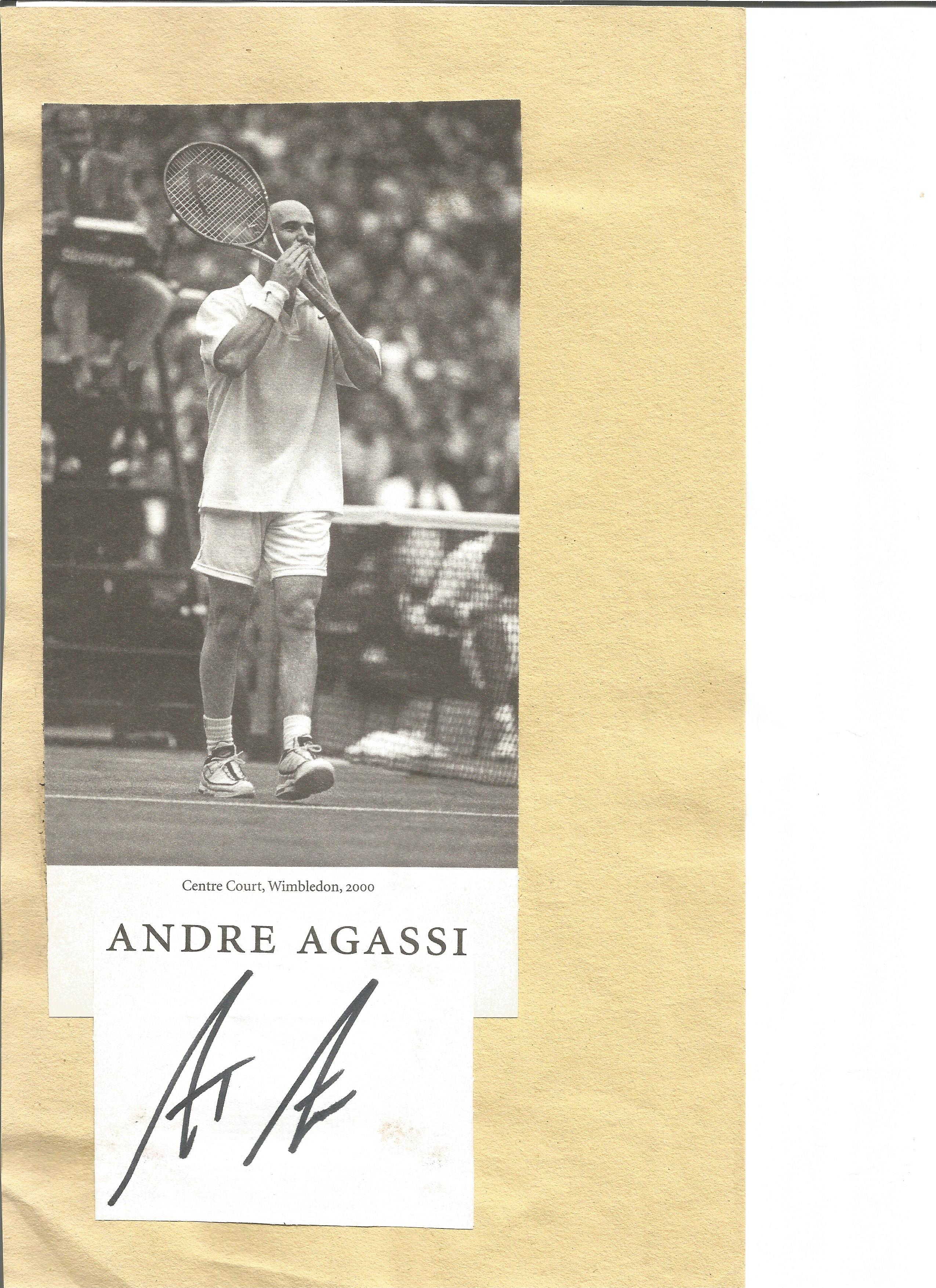 Lot 237 - Tennis Andre Agassi signature piece with magazine photo fixed to card. Andre Kirk Agassi born