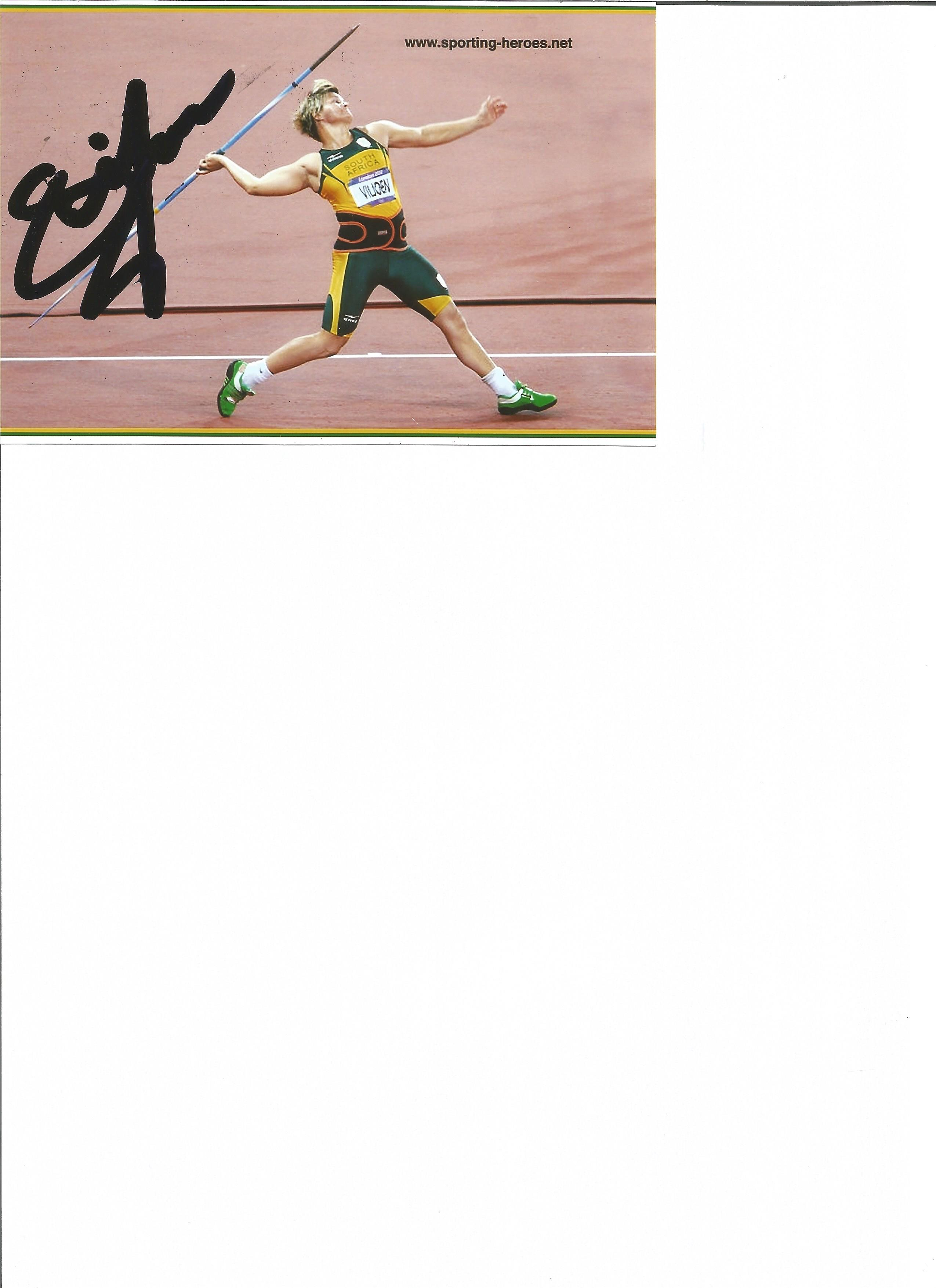 Lot 652 - Olympics Sunette Viljoen signed 6 x 4 inch colour photo for South Africa in the javelin event at the