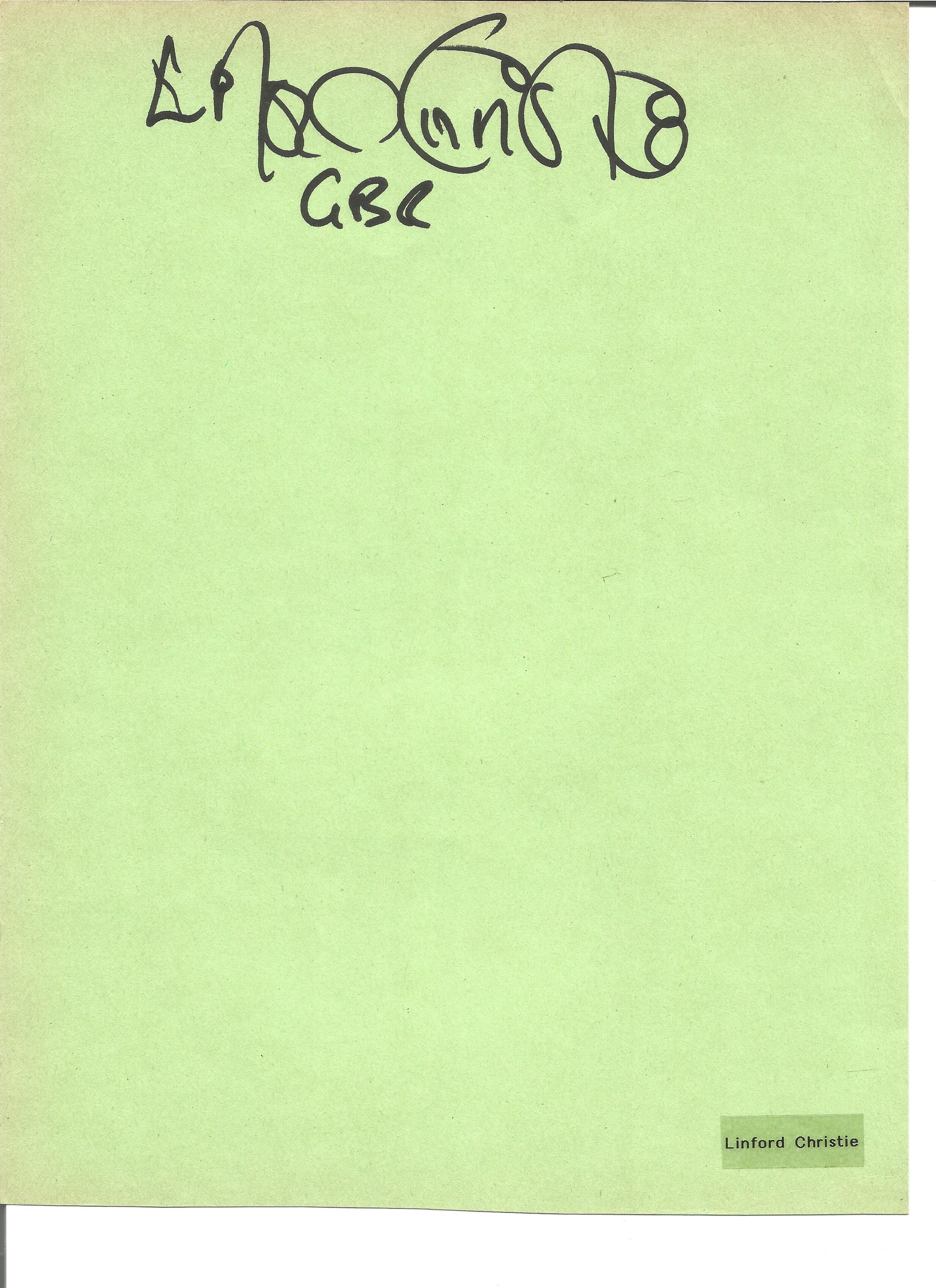 Lot 173 - Athletics Linford Christie signed A4 page. Linford Cicero Christie OBE born 2 April 1960 is a