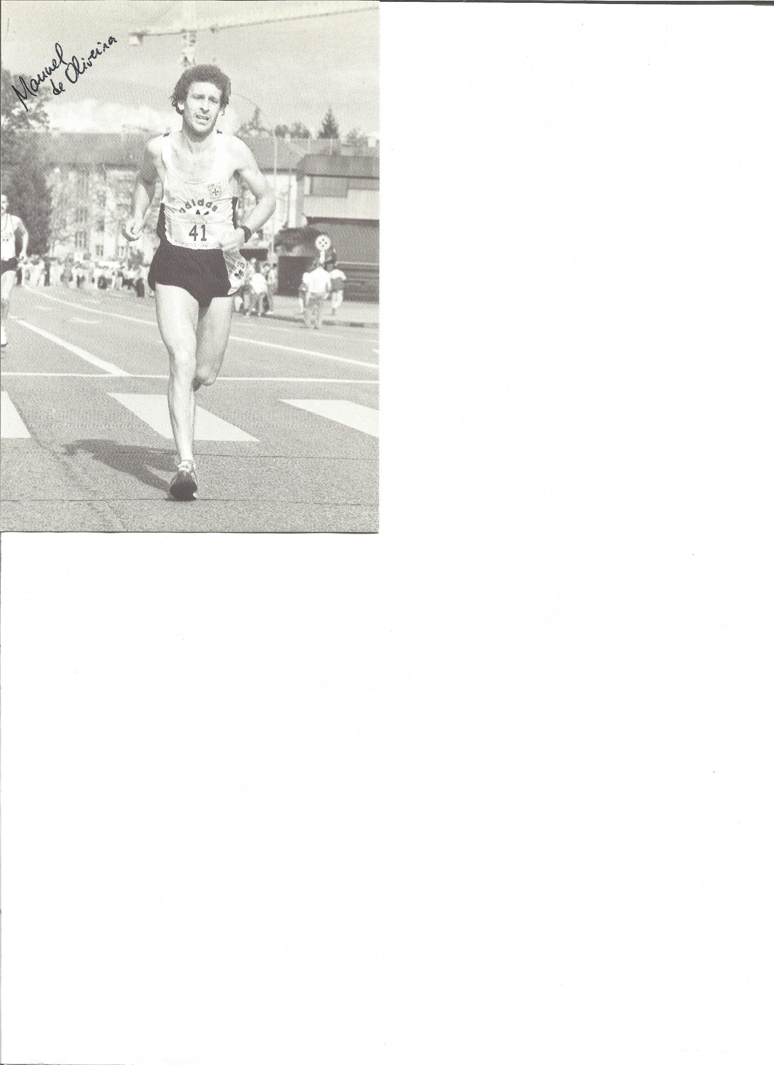 Lot 163 - Athletics Manuel de Oliveira signed 6 x 4 inch black and white promo card. Manuel Figueiredo de