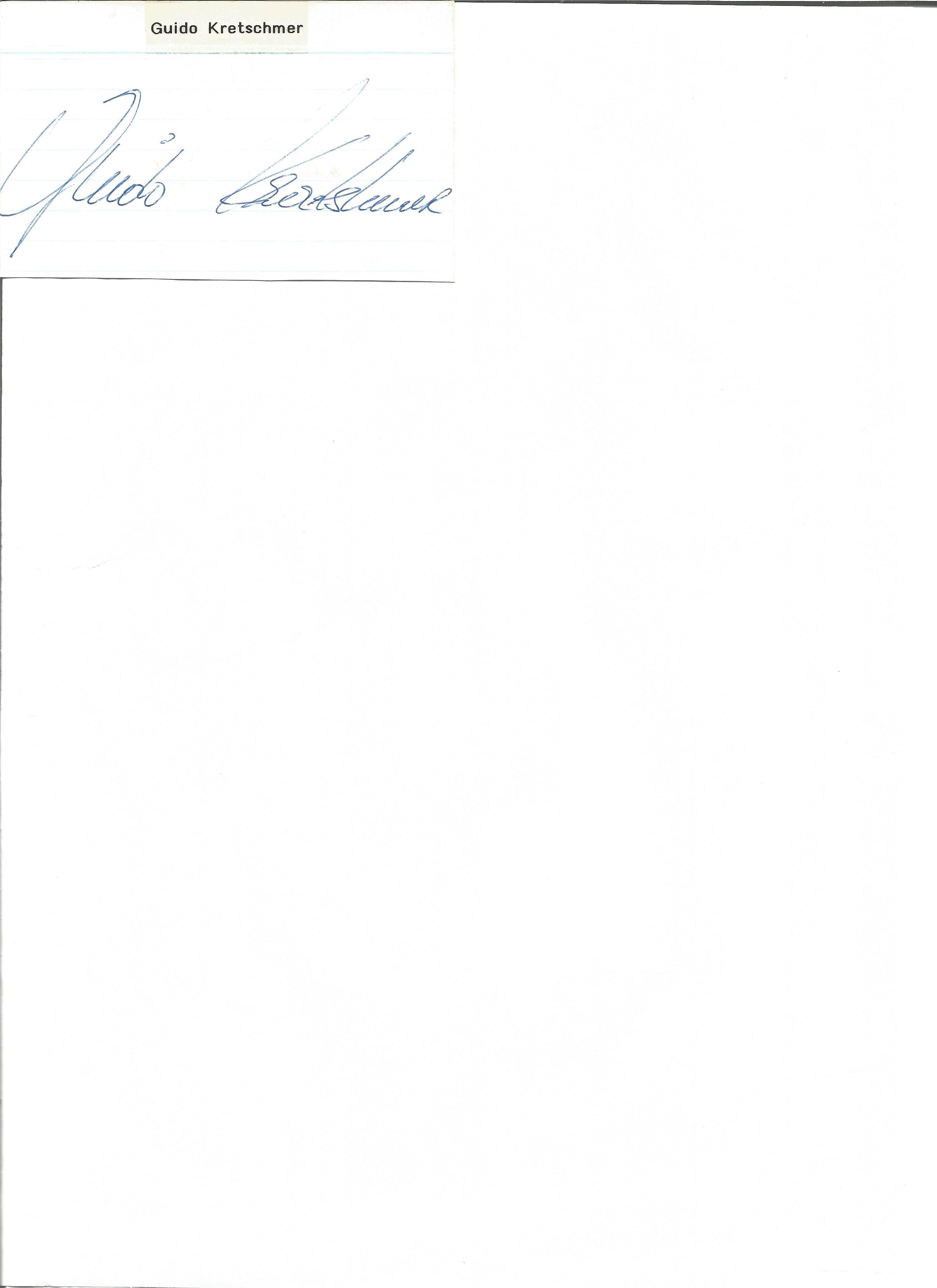 Lot 183 - Athletics Guido Kratschmer signed 4x3 album page. Guido Kratschmer born 10 January 1953 in
