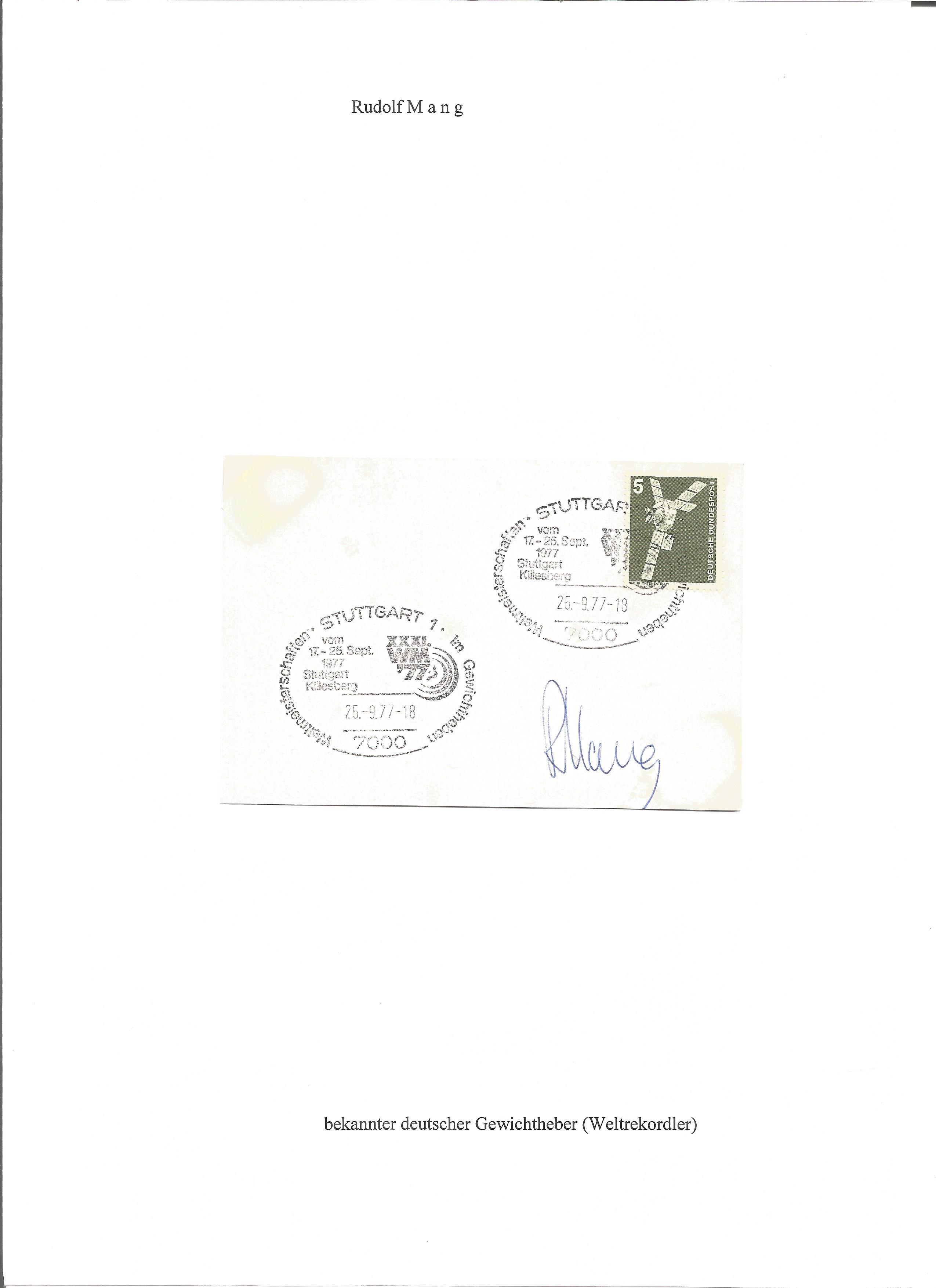 Lot 231 - Olympics Rudolf Mang signed vintage envelope Double PM Stuttgart 25-9. 77-18. Rudolf Mang 17 June