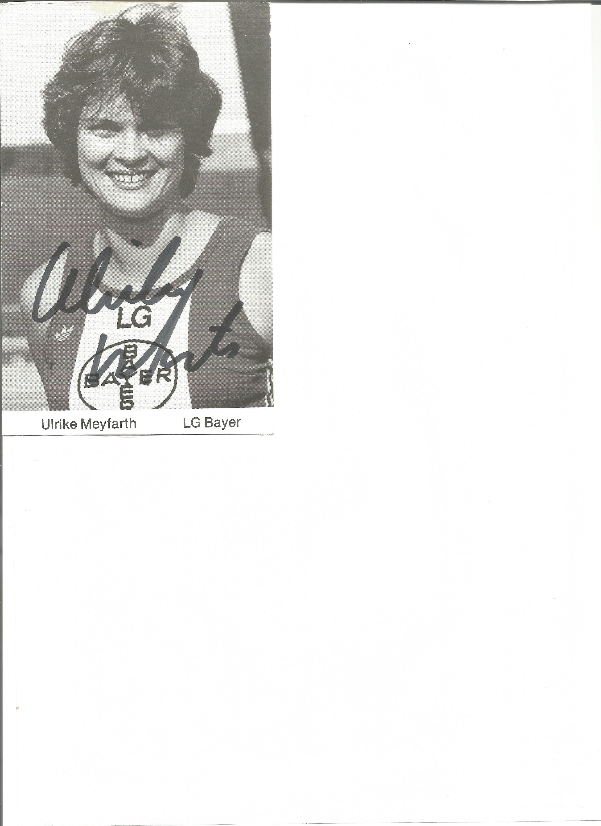 Lot 162 - Athletics Ulrike Meyfarth 6 x 4 inch signed black and white promo photo. Ulrike Nasse-Meyfarth