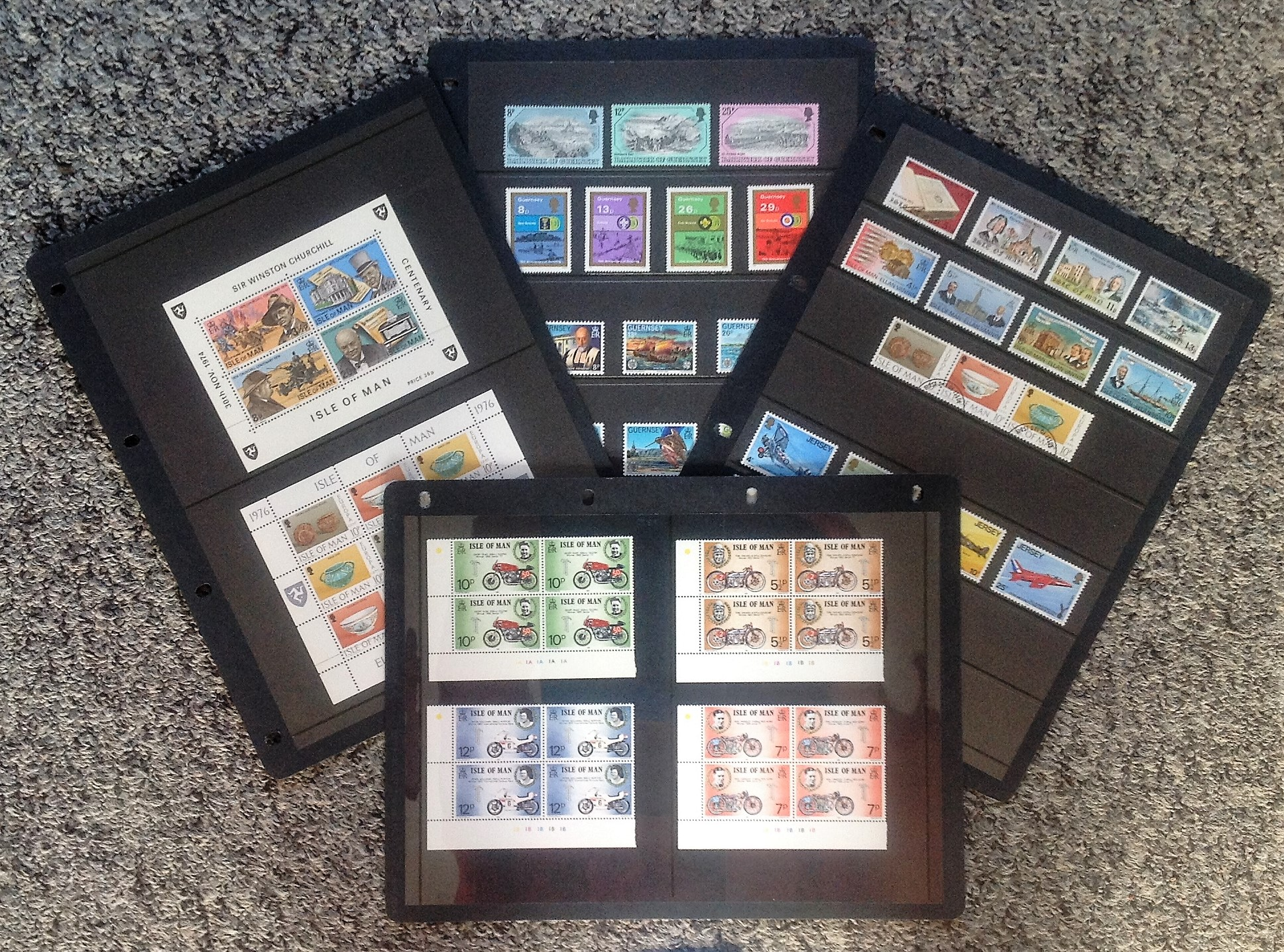Lot 54 - Jersey, Isle of Man, Guernsey stamp and minisheet collection. Mostly unmounted mint on 7 album