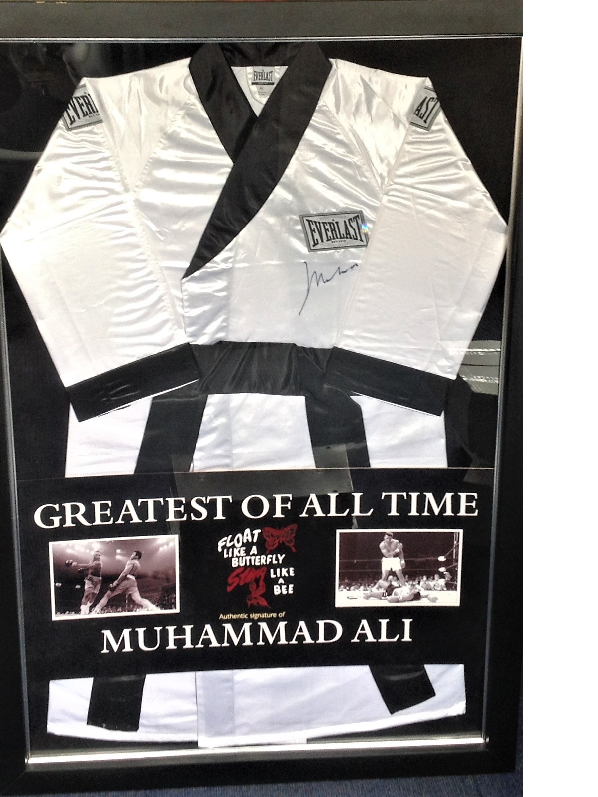 Lot 1 - Boxing Float like a butterfly sting like a Bee Muhammad Ali 56x38 mounted and framed signed Everlast