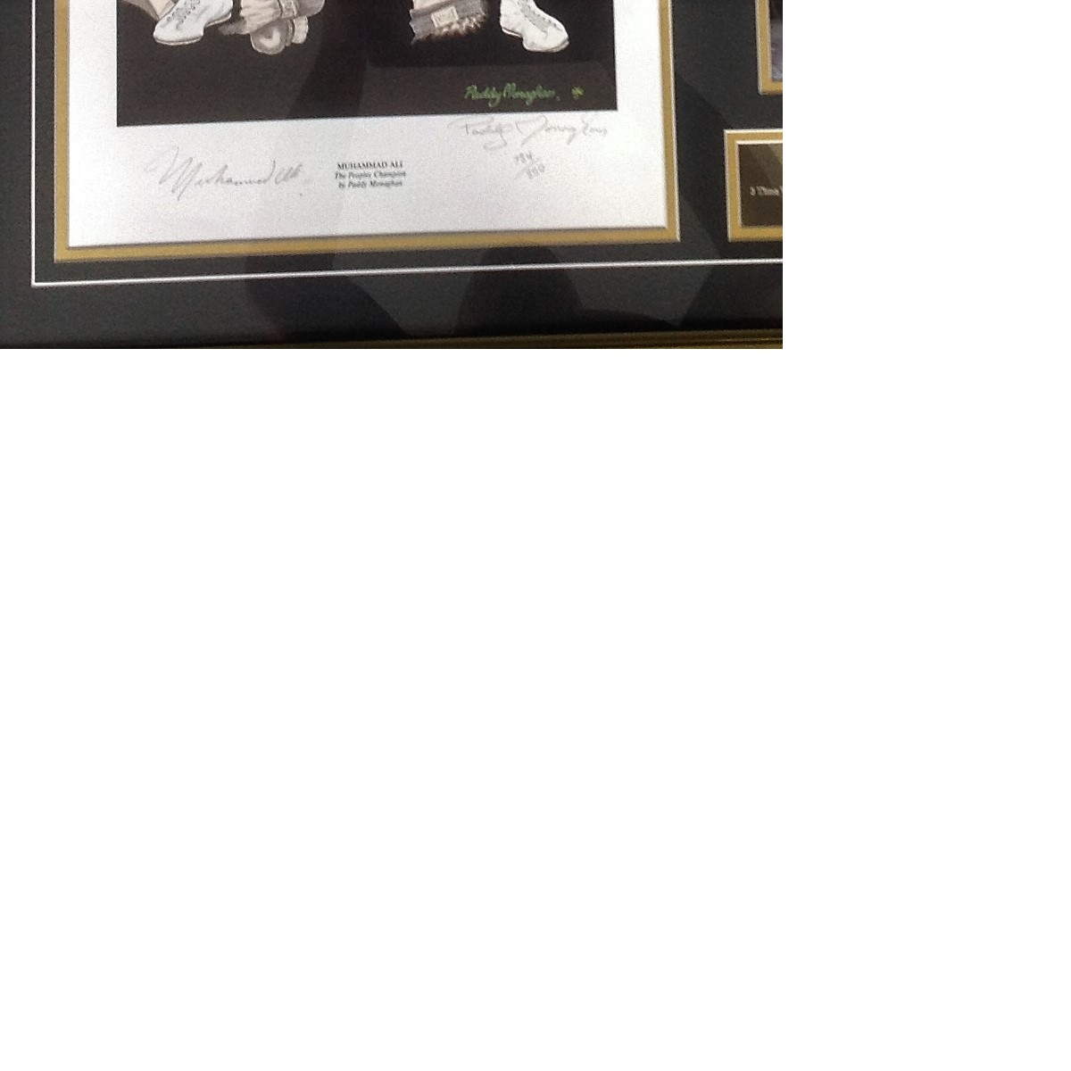 Lot 3 - Boxing Muhammad Ali 30x29 mounted and framed print signed in pencil by the Greatest and the artist