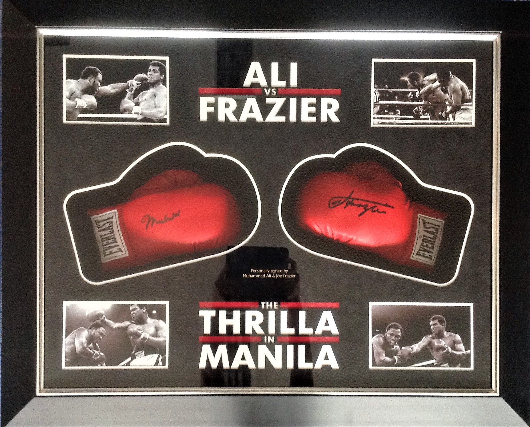 Lot 2 - Boxing Thrilla in Manila Muhammad Ali and Joe Frazier 41x35 mounted and framed pair of Everlast