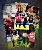 Football collection 8 signed colour photos some household names include Jaap Stam, Stan Collymore,