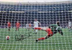 Football Ray Stewart signed 14x12 colour photo pictured scoring from the penalty spot for West Ham