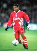 John Barnes signed 16x12 colour photo pictured in action for Liverpool, John Charles Bryan Barnes