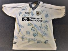Football Tottenham Hotspur multi signed home shirt from the 2000/2001 season 20 signatures