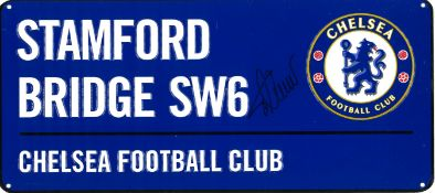 Football Timo Werner signed Stamford Bridge SW6 Chelsea Football Club commemorative metal road sign.