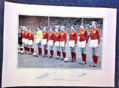 Football Geoff Hurst and Martin Peters signed 33x16 colourised print picturing the two lining up