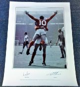 Football Geoff Hurst and Martin Peters signed 33x16 colourised print picturing the two celebrating
