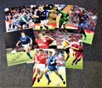 Football collection 8 signed colour photos signatures include Tony Cottee, Jason McAteer, Tony