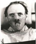 Anthony Hopkins signed 10x8 black and white photo from Silence of the Lambs. Good Condition. All