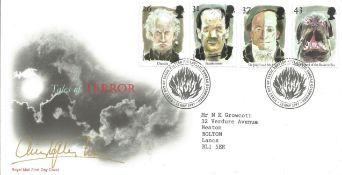 Christopher Lee signed 1997 Tales of Terror FDC with neat typed address. Good Condition. All