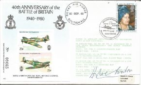 WW2 ace Douglas Bader DSO DFC signed 50th ann Battle of Britain cover. Good Condition. All