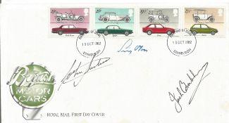 Formula one legends multiple signed 1982 British Motor Cars FDC, Signed by Jack Brabham, Stirling
