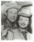 Roy Rogers signed 10x8 black and white photo. Good Condition. All autographs are genuine hand signed