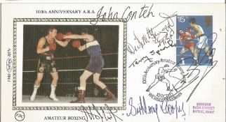 Boxing legends multiple signed 1980 Benham small silk FDC. Signed by Henry Cooper, John Conteh, Alan