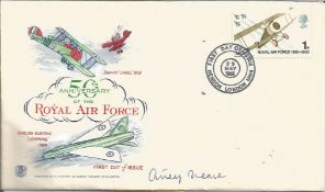 Airey Neave signed 50th anniv of the RAF cover. Good Condition. All autographs are genuine hand