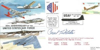 Paul Tibbets signed joint services cover. Good Condition. All autographs are genuine hand signed and