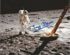 Buzz Aldrin signed 10x8 colour photo of him on the moon. Good Condition. All autographs are