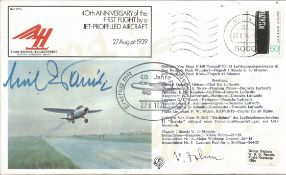 Erich Warsitz signed cover. 1906-1983. First man to fly jet aircraft in a Heinkel. HE178 on 27/8/