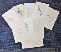 Signed white card collection. 9 included. Amongst them are Red Skelton, John Gielgud, Rod Steiger,