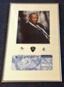 B B King signed colour photo and British Airways boarding pass. Mounted and framed with 3 of his