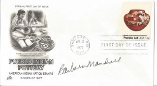 Barbara Mandrell signed FDC Pueblo Indian Pottery American Indian Art of Stamps Series of 1977 PM