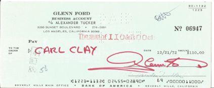 Glen Ford signed Bank of America cheque dated 12/21/72. Gwyllyn Samuel Newton Glenn Ford May 1, 1916