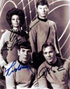William Shatner, Leonard Nimoy and Nichelle Nichols multi signed 10x8 Star Trek black and white