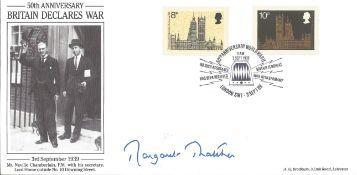 Margaret Thatcher signed FDC 50th Anniversary Britain Declares War PM 50th Anniversary World War