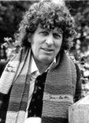 Tom Baker signed 16x12 Doctor Who black and white photo. Thomas Stewart Baker born 20 January