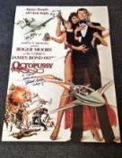 James Bond Octopussy 29x20 poster signed by Roger Moore, Maud Adams and Carole Ashby. Good