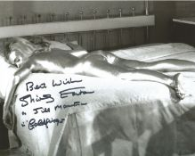 Shirley Eaton signed James Bond Goldfinger b/w 10 x 8 inch photo, rare she has added screen name