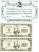 James Bond movie prop King Casino Cheque and two 100 dollar notes from the 19th Bond Film The