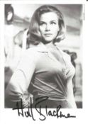 Honor Blackman signed 6x4 James Bond Goldfinger black and white photo pictured in her role as