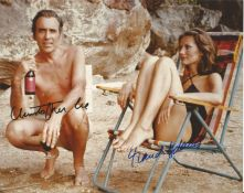 Christopher Lee and Maud Adams signed 10x8 James Bond The Man with the Golden Gun colour photo. Good
