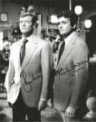 Roger Moore and David Hedison signed 10x8 James Bond Live and Let Die black and white photo. Good
