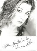 Bond Girl Rosamund Pike signed 7x5 black and white photo. Rosamund Mary Ellen Pike (born 27