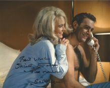 Shirley Eaton signed James Bond Goldfinger colour 10 x 8 inch photo, rare she has added screen