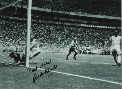 Gordon Banks Famous save England Signed 16 x 12 inch football black and white photo. This item is
