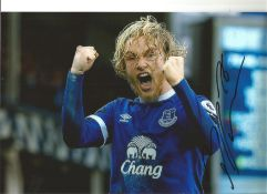 Tom Davies Everton Signed 12 x 8 inch football photo. This item is from the stock of www.