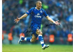James Vaughan Everton Signed 16 x 12 inch football photo. This item is from the stock of www.