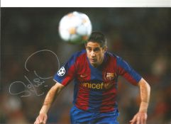 Sylvinho Barcelona Signed 12 x 8 inch football photo. This item is from the stock of www.